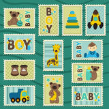 Baby boy postage stamps. Vector illustration, eps Royalty Free Stock Image