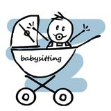 Baby boy in the pram, funny illustration, doodle, vector icon Stock Photography
