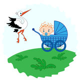 Baby boy in a pram and stork beside him Stock Photography