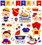 Baby Boy Prince Vector Set. A vector set of baby prince and items royalty free illustration