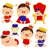 Baby Boy Prince. A vector set of baby prince poses stock illustration