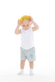 Baby boy with protective glasses. Stock Image