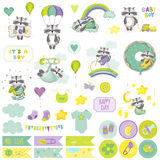 Baby Boy Raccoon Scrapbook Set. Decorative Elements Royalty Free Stock Photo