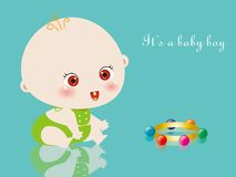 Baby Boy and rattles Stock Photography