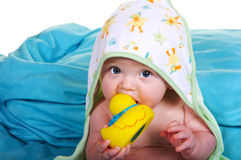 Baby Boy Ready for his Bath. Baby boy with his ducky and bath towel stock image