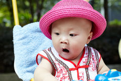 Baby boy in red hat Stock Photography