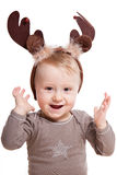 Baby boy with reindeer hat Royalty Free Stock Photography