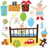 Baby Boy retro birthday party Royalty Free Stock Image