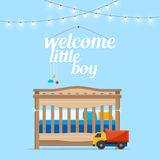 Baby boy room with bed and words. Royalty Free Stock Images