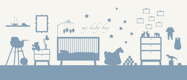 Baby boy room interior blue silhouette. Blue silhouette of an interior of a baby boy's room with some furniture, toys, clothes, decoration and other childcare Stock Illustration