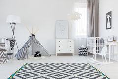 Baby boy room with tent. Black and white baby boy room with tent and carpet Stock Image
