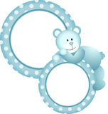 Baby boy round frame teddy bear Stock Images