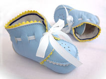 Baby boy's first shoes Stock Images