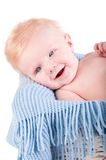 Baby boy's portrait on blue blanket Royalty Free Stock Photos