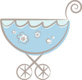 A baby (boy's) stroller (II). Pastel-colored (blue) stroller for baby boys decorated with flowers Royalty Free Stock Photography