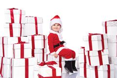 Baby boy in Santa Claus costume Royalty Free Stock Images