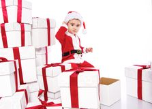 Baby boy in Santa Claus costume Stock Image