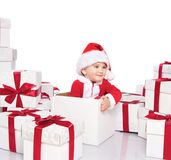 Baby boy in Santa Claus costume Royalty Free Stock Photo