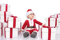 Baby boy in Santa Claus costume Royalty Free Stock Image