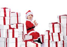 Baby boy in Santa Claus costume Royalty Free Stock Photography