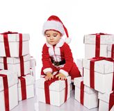 Baby boy in Santa Claus costume Royalty Free Stock Photos