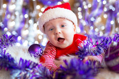 Baby boy in santa costume for Christmas Royalty Free Stock Photography