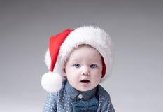 Baby boy in santa hat Royalty Free Stock Photography