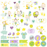 Baby Boy Scrapbook Set. Vector Scrapbooking. Decorative Elements Royalty Free Stock Photos