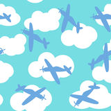 Baby boy seamless pattern with with airplanes silhouettes. Kids seamless pattern with airplanes, stars and clouds colorful. White background Stock Photos