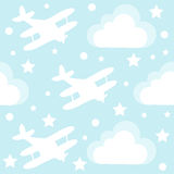 Baby boy seamless pattern with cartoon toy airplane and clouds Royalty Free Stock Photo