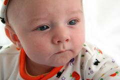 Baby Boy with Serious Face Royalty Free Stock Photo
