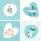 Baby Boy Set. Baby boy Elements set illustration Stock Illustration