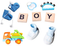 Baby boy set of accessories stock photo