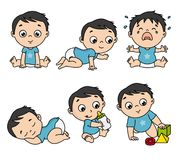 Baby boy set in different poses. Such as standing, sitting, crying, playing, crawling. vector isolated vector illustration