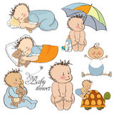 Baby boy set isolated on white. Background Royalty Free Stock Images
