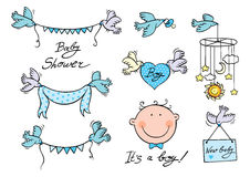Baby boy set of vector elements Royalty Free Stock Images
