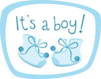 Baby boy shoes. Baby boy announcement with blue shoes stock illustration