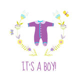 Baby Boy Shower or Arrival Card Stock Photo