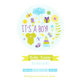 Baby Boy Shower or Arrival Card Royalty Free Stock Image