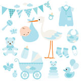 Baby Boy Shower and Baby Items. Illustration for baby boy shower and baby items royalty free illustration