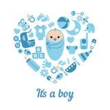 Baby boy shower background Royalty Free Stock Image
