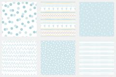 Baby boy shower blue collection Hand drawn seamless pattern set Blue simple textures for background Vector. Baby boy shower blue collection Hand drawn seamless vector illustration