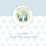 Baby boy shower card. With pram Stock Photography