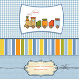 Baby boy shower card. Baby shower card with toy train Stock Image