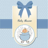 Baby boy shower card. Delicate baby boy shower card Stock Image