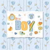 Baby boy shower card. With flowers Royalty Free Stock Images