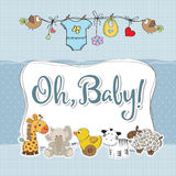 Baby boy shower card with animals. Vector format Stock Photography