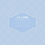Baby boy shower card. Arrival card with place for your text. Stock Photo