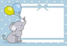 Baby boy shower card. Cute elephant with balloon. space for text stock illustration