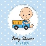 Baby boy shower card. Baby shower card. Boy with a truck royalty free illustration